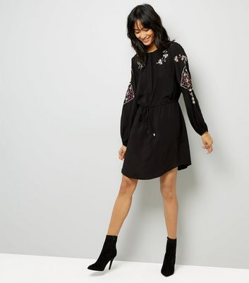 Black Cross Stitch Embroidered Shirt Dress New Look