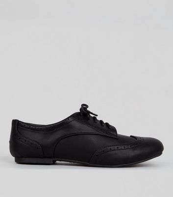 Girls Black Lace Up School Brogues