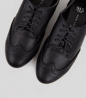 Teens Black Lace Up School Brogues New Look