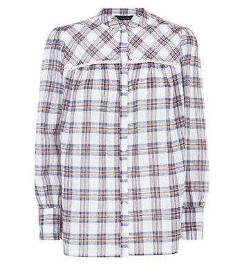 White Check Print Crochet Trim Shirt New Look