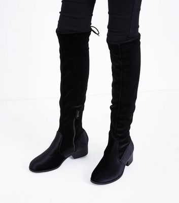 Teens Black Velvet Over The Knee Boots New Look