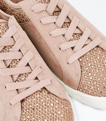 Pink Diamante Mesh Lace Up Trainers New Look