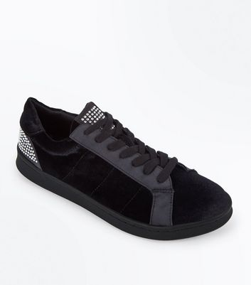 Black Velvet Diamante Embellished Lace Up Trainers New Look