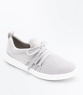 Grey Fishnet Front Lace Up Jogging Trainers New Look