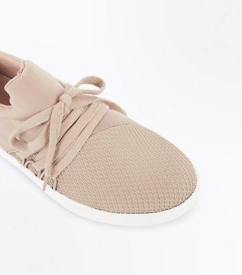 Nude Fishnet Front Lace Up Jogging Trainers New Look