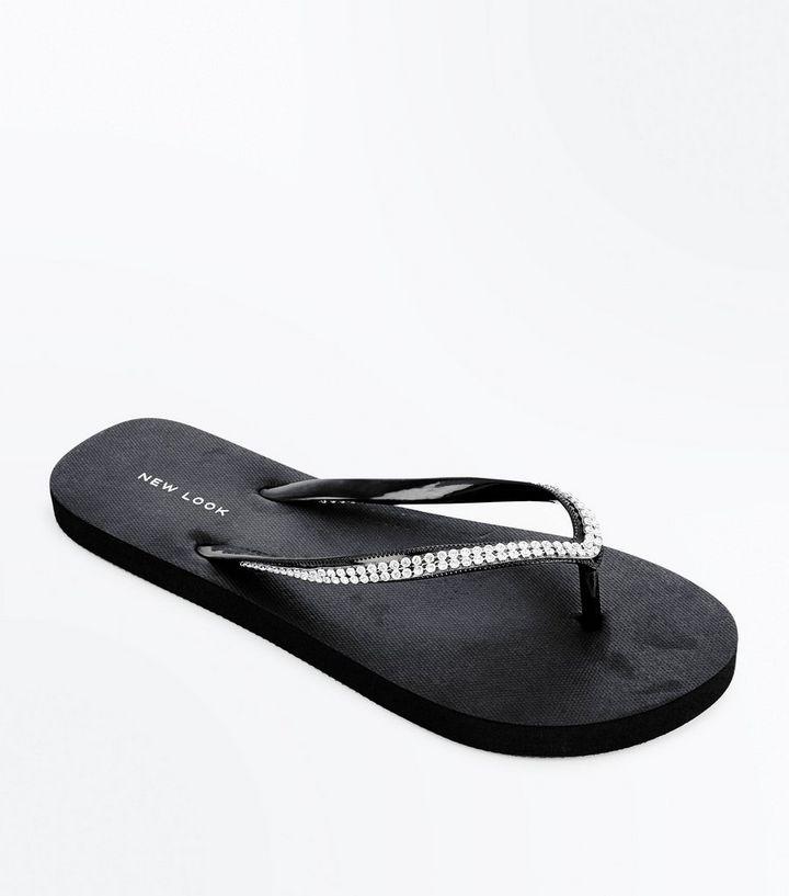 a45eef70f2a4 Black Diamante Embellished Flip Flops | New Look