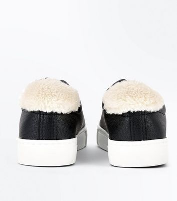 black-faux-fur-panel-lace-up-trainers