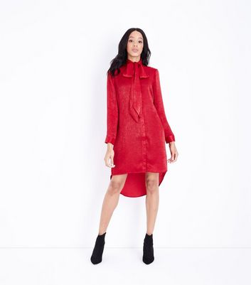 Blue Vanilla Red Satin Shirt Dress New Look