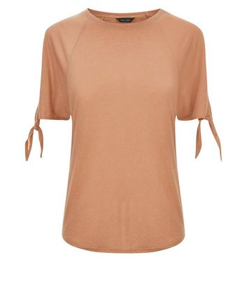 Light Brown Tie Sleeve Cold Shoulder T-Shirt New Look