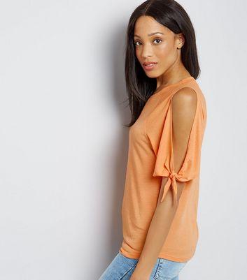 Orange Tie Cold Shoulder T-Shirt New Look