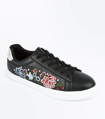 Black Embroidered Stud Detail Trainers New Look