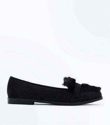 Black Faux Fur Slip On Loafer New Look