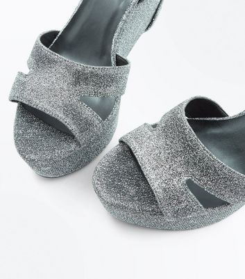 Wide Fit Silver Glitter Platform Wedge Heels New Look