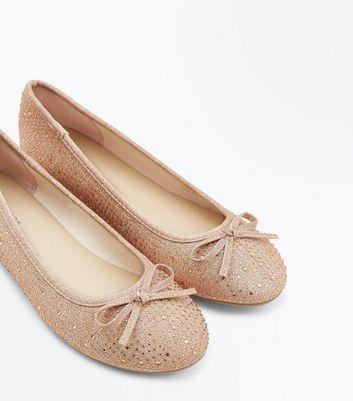 Rose Gold Diamante Embellished Ballet Pumps New Look