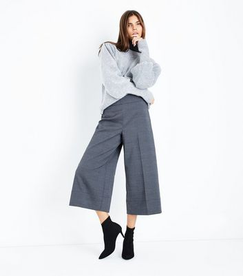 Grey Check High Waist Cropped Wide Leg Trousers New Look