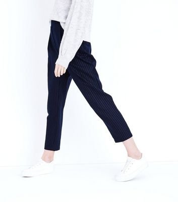Navy Pinstripe Tapered Trousers New Look