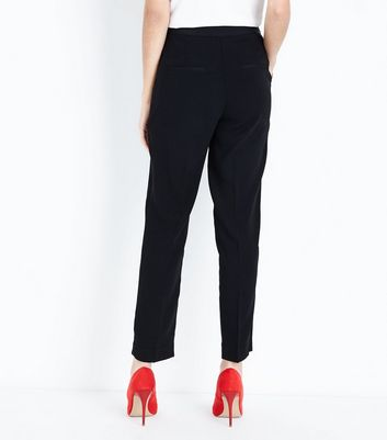 Black Rose Embroidered Tux Trousers New Look