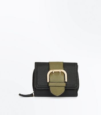 Black Buckle Front Purse New Look