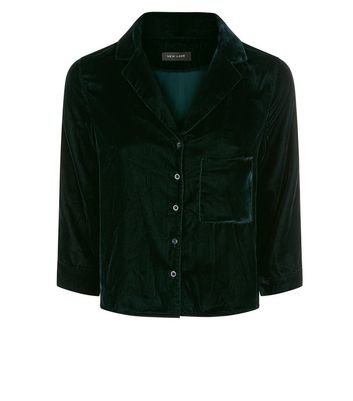 Dark Green Velvet Pyjama Style Shirt New Look