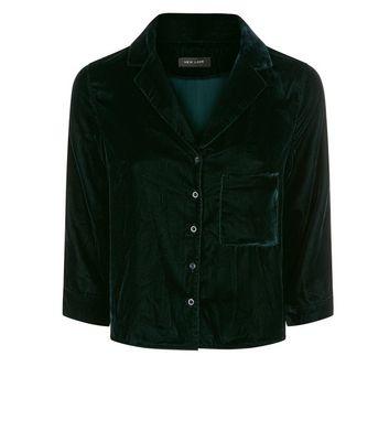 Dark Green Velvet Pyjama Style Shirt New Look