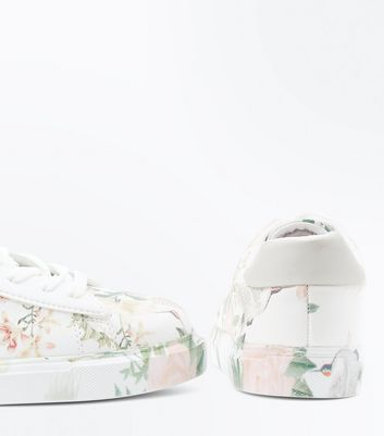 White Floral Print Lace Up Trainers New Look
