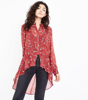 Rust Floral Print Chiffon Dip Hem Shirt New Look