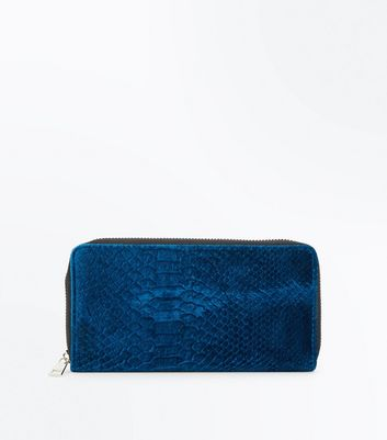 Teal Velvet Snake Embossed Zip Around Purse New Look