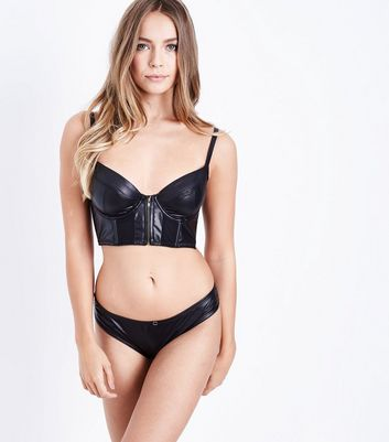 Black Leather Look Bra New Look