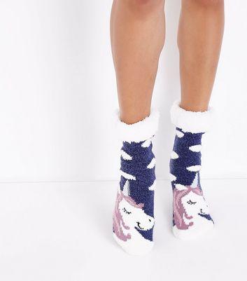 Navy Unicorn Faux Fur Trim Slipper Socks New Look