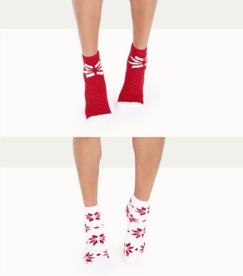 2 Pack Red Snowflake Pattern Slipper Socks New Look