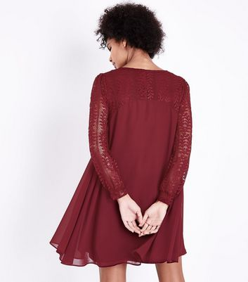 Blue Vanilla Red Lace Sleeve Tunic Dress New Look