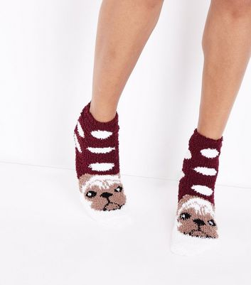 Red Pug Pattern Slipper Socks New Look