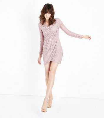 Blue Vanilla Shell Pink Floral Lace Dress New Look