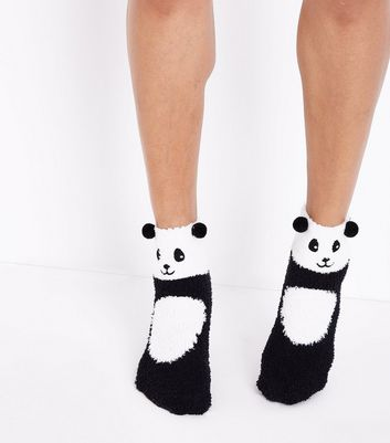 Black Panda Boucle Ankle Socks New Look