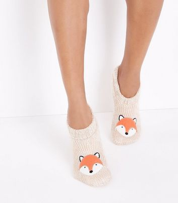 Cream Fox Knitted Slipper Socks New Look