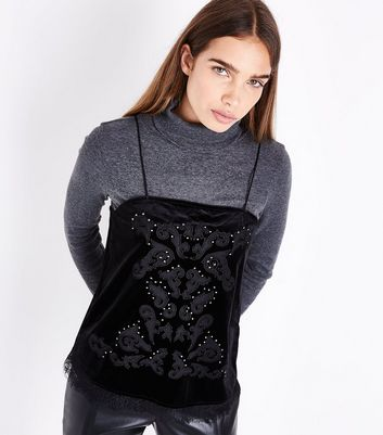 Black Embellished Velvet Cami New Look