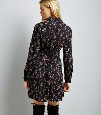 Black Floral Lace Up Back Shirt Dress New Look