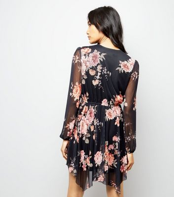 Black Floral Mesh Hanky Hem Wrap Dress New Look
