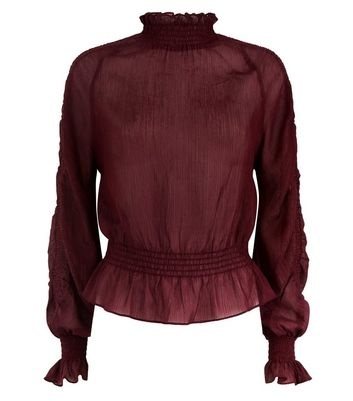 Burgundy Metallic Shirred Sleeve Blouse New Look