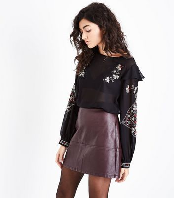 Black Embroidered Frill Shoulder Top New Look
