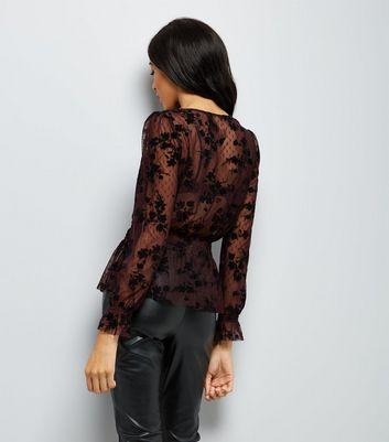 Burgundy Shirred Waist Flocked Mesh Top New Look
