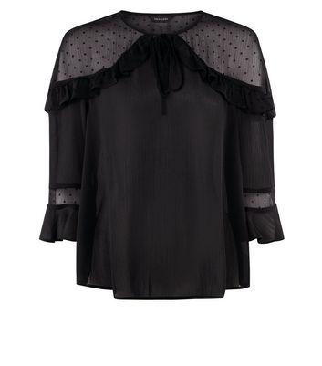 Black Crepe Frill Trim Blouse New Look