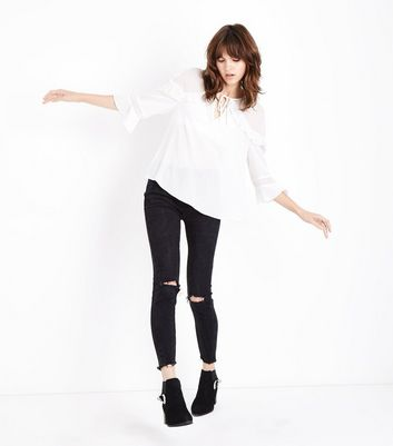 Off White Crepe Frill Trim Blouse New Look