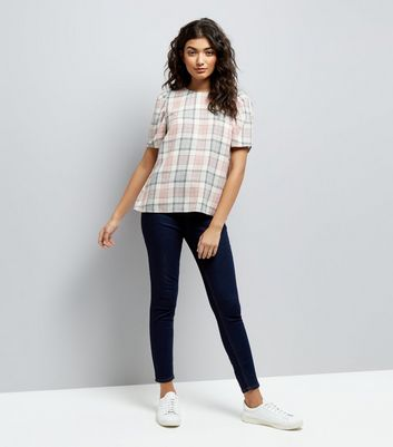 White Check Puff Sleeve Top New Look