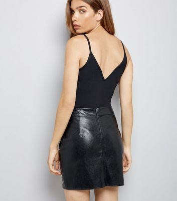 Parisian Black Eyelet Leather-Look Mini Skirt New Look