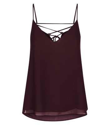 Burgundy Lace Up Back Cami New Look