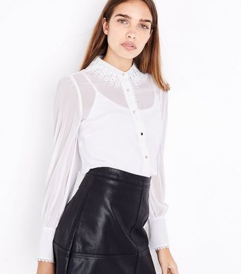 White Crochet Lace Collar Shirt New Look