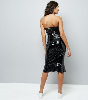 Parisian Black Leather-Look Frill Dress New Look