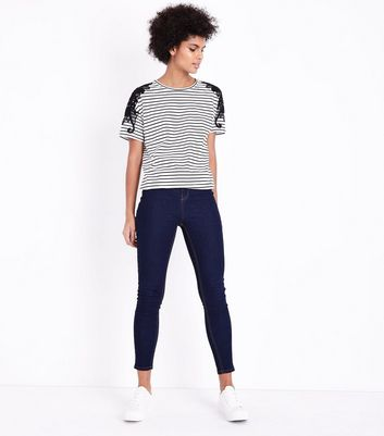White Stripe Lace Applique T-Shirt New Look