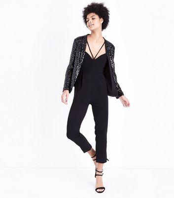 Black Sequin Blazer New Look